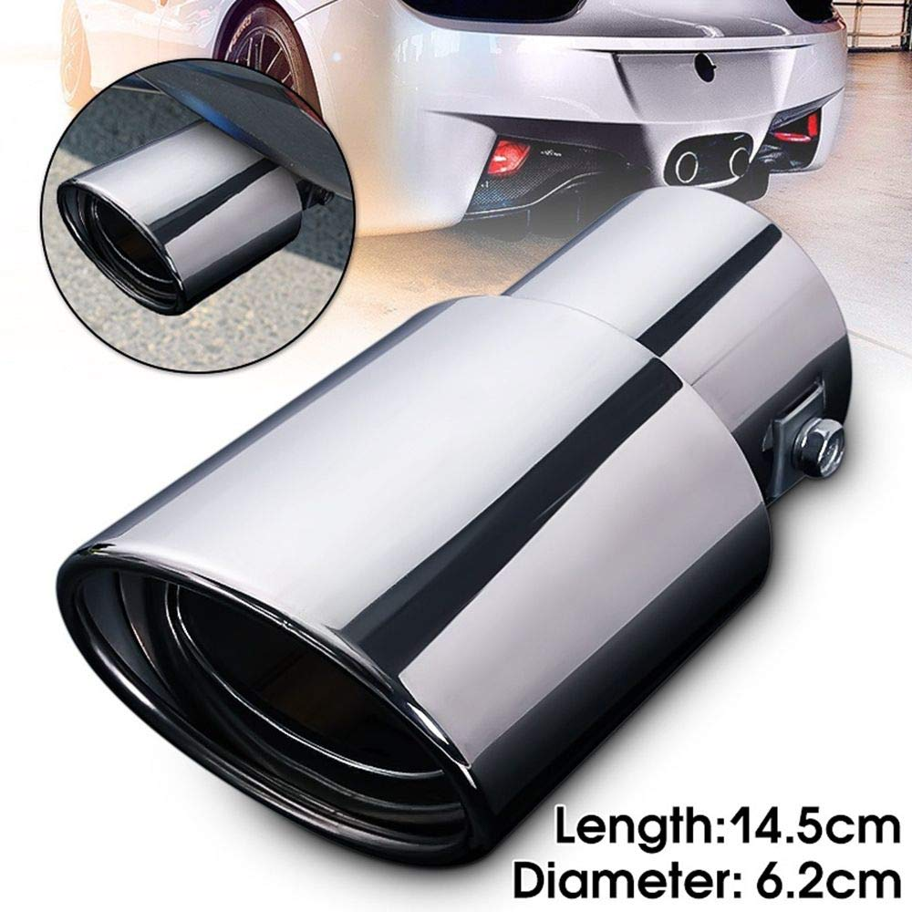 Universal Stainless Steel Chrome Car Tail Rear Straight Round Exhaust Muffler Pipe Tip okdeals
