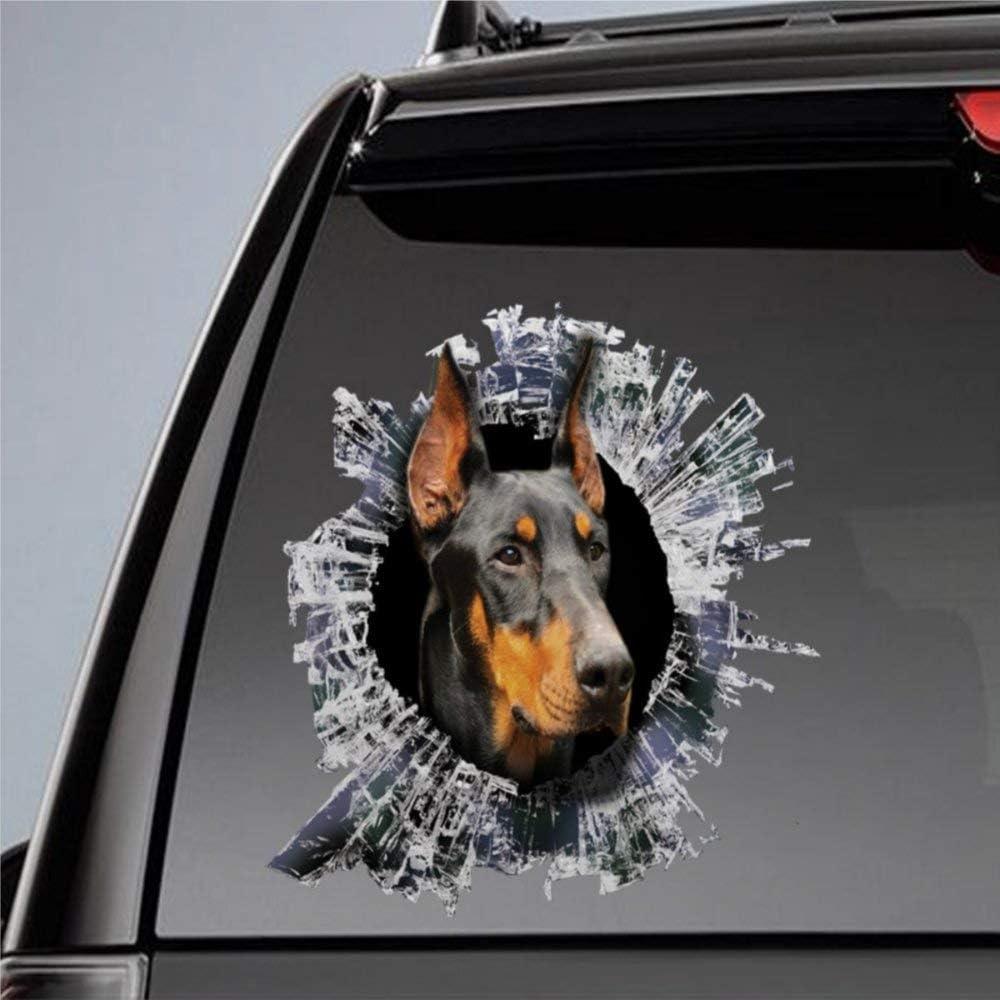 DONL9BAUER Doberman Dog Car Stickers Vinyl Auto Scratch Cover 3D Sticker Car Decal for Laptop Travel Case Tumbler Door Window Bumper Luggage Idea