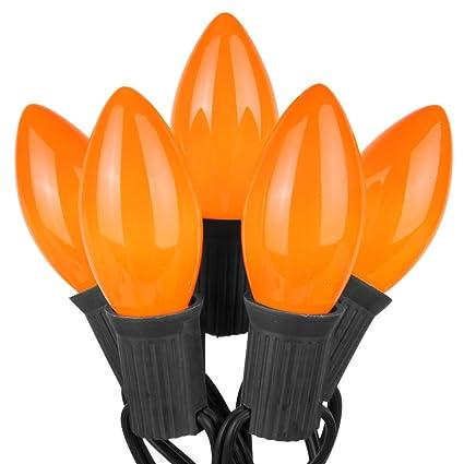 50 Black Light /& 25 Orange LED Faceted C9 Halloween Lights