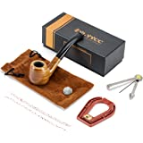 Ylyycc green sandalwood bent smoking tobacco pipe with filter element + 3 in 1 scraper+ high grade gift box