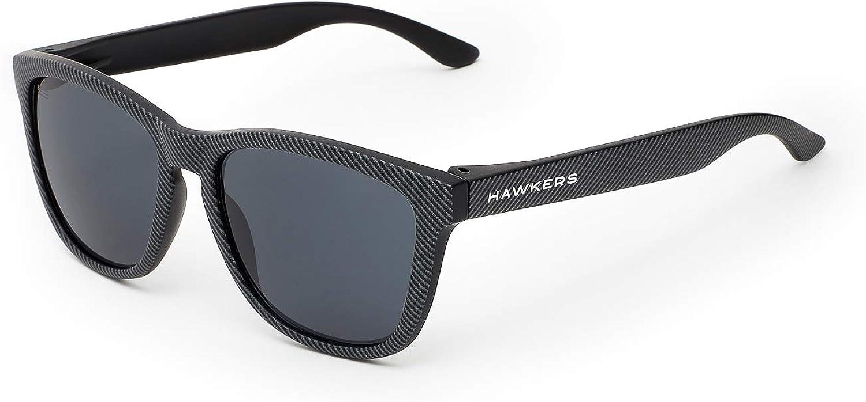 HAWKERS Gafas de Sol ONE Carbono, para Hombre y Mujer, con Montura Negra Mate con Trama y Lente Oscura, Protección UV400