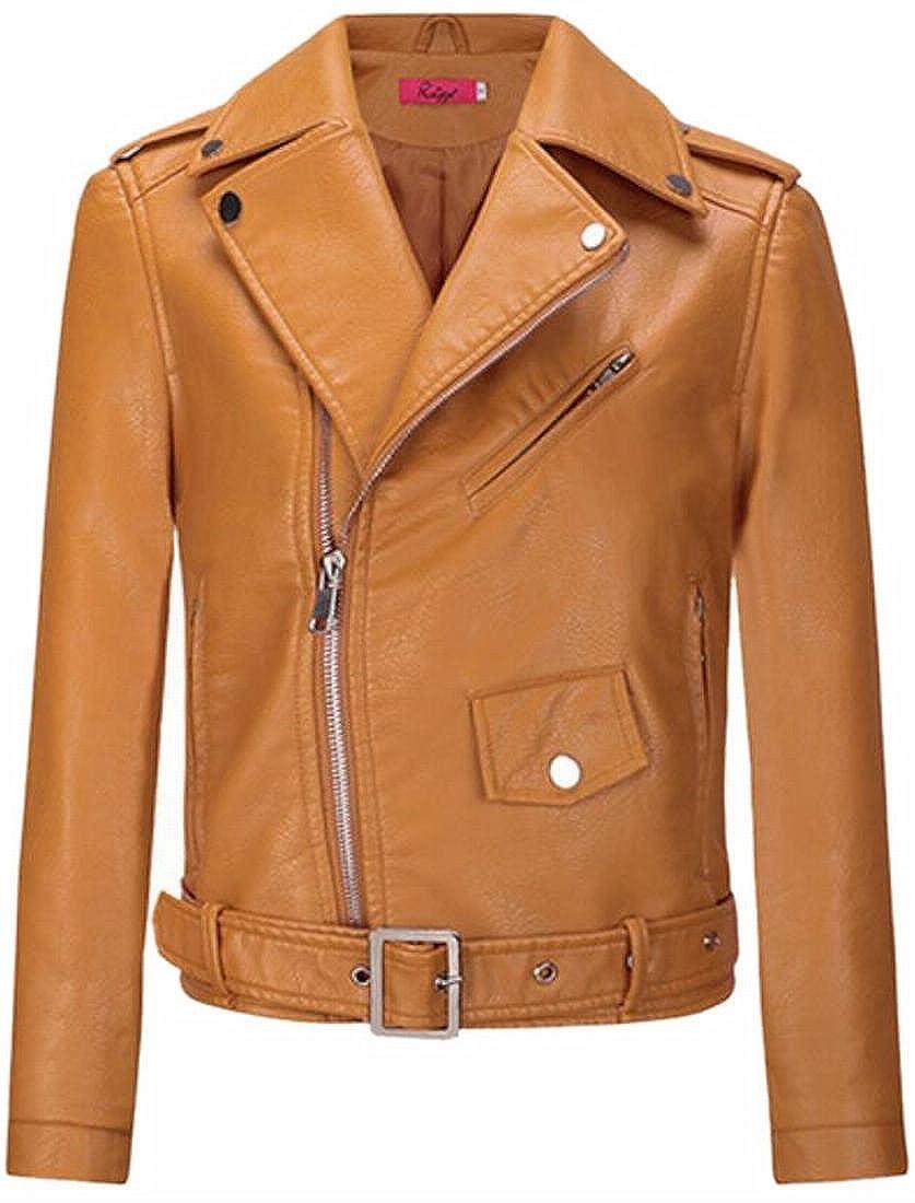 CBTLVSN Womens Faux Leather Coat Turn Down Collar Moto Vogue Biker Jacket