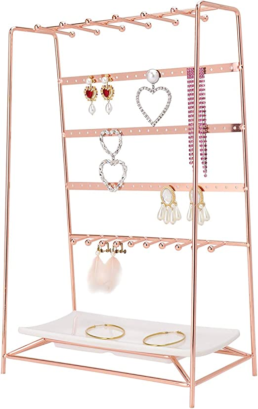 Amazon Com Morigem Jewelry Organizer 5 Tier Jewelry Stand Decorative Jewelry Holder Display With White Tray For Necklaces Bracelets Earrings Rings Rose Gold Home Kitchen