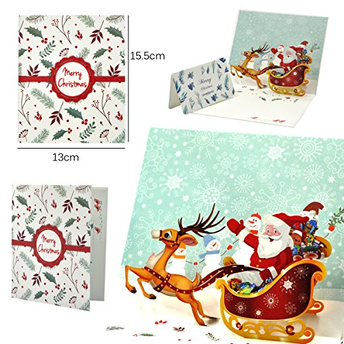 eZAKKA 3D Christmas Cards Pop Up Holiday Greeting Gifts Cards with Envelopes for Xmas Merry Christmas New Year, 5-Pack Photo #7