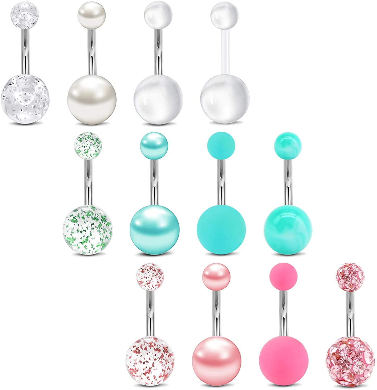 MODRSA Belly Button Rings Surgical Steel 14G Pearl Belly Ring Navel Piercings Jewelry for Women Girls Clear Retainers 10mm Silver Pink Black