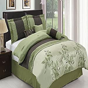 Pasadena sage king size luxury 11 piece comforter set for Luxury hotel 660 collection bed skirt