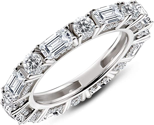 Round CZ Band Ring Sterling Silver 3mm CZ Eternity Ring Size 7 14 Multi-Stone Ring