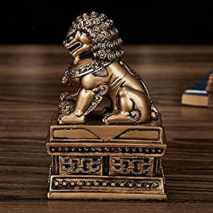 Wealth Porsperity Pair of Fu Foo Dogs Guardian Lion Statues + Free Set of 10 Lucky Charm Ancient Coins on Red String,Best Housewarming Congratulatory Gift to Ward Off Evil Energy,Feng Shui Decor