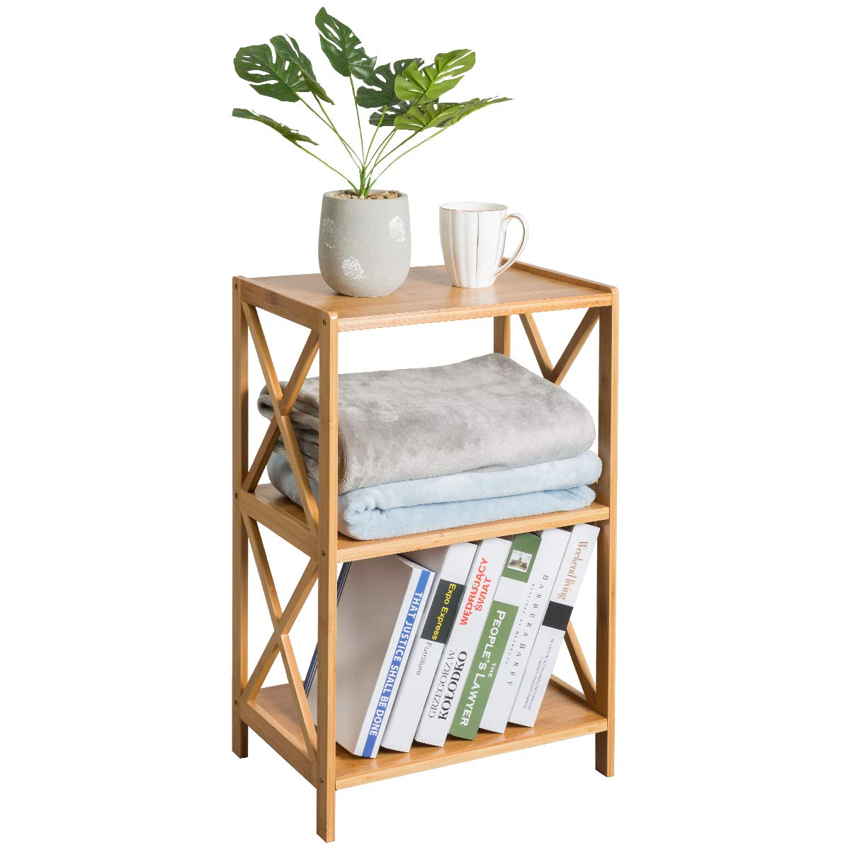 HollyHOME 3 Tier 100% Bamboo Bathroom Kitchen Living Room Shelf, Plant and Flowers Stand Utility Storage Shelf,Multifunctional Storage Rack Shelving Unit End Table, 16.38''x11.63''x25.51'' by HollyHOME (Image #3)
