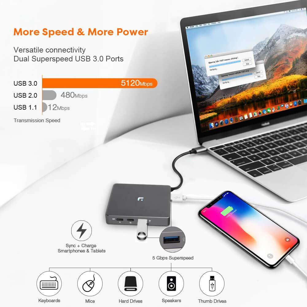 Amazon.com: USB C Hub, adaptador USB C con cable tipo C ...
