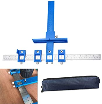 Cabinet Hardware Jig Adjustable Punch Locator Tool Drill Guide Template Wood Drilling Doweling for Installation of Handles, Knobs on Doors and Drawer Pull with Storage Bag