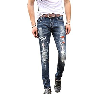 9a13e528724201 Männer Bleistift Voller Länge Hosen Baumwolle Denim Herren Jeans, Sommer  Ripped Loch Slim Fit Jeans