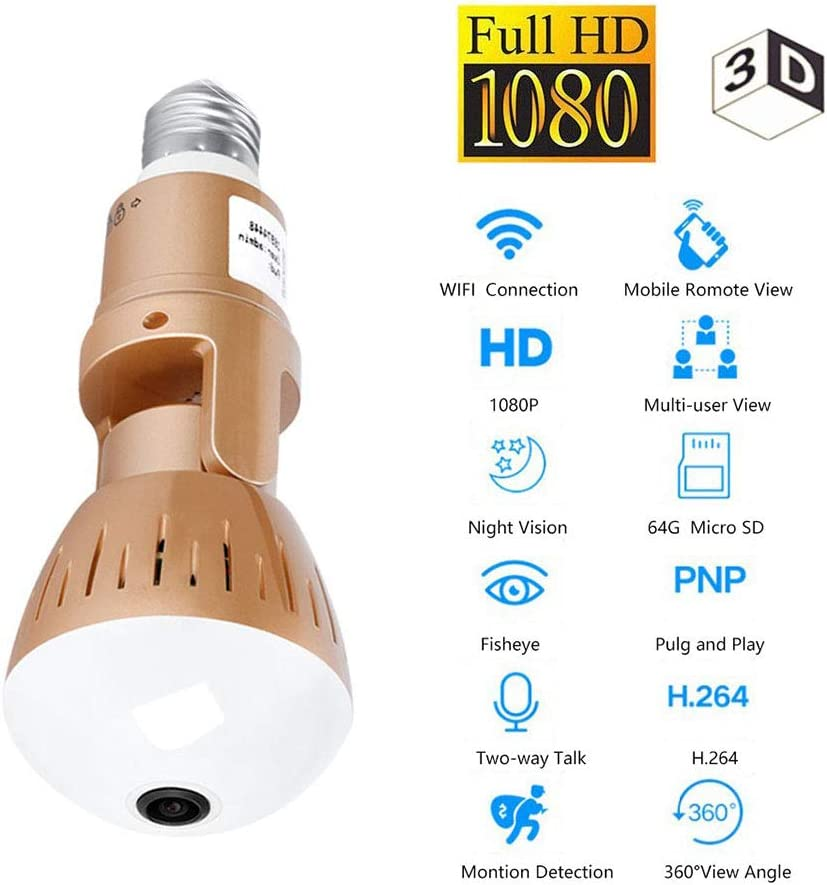 NEW 360° Camer Panoramic Wireless Bulb HD Smart Camera for Home Security AHS