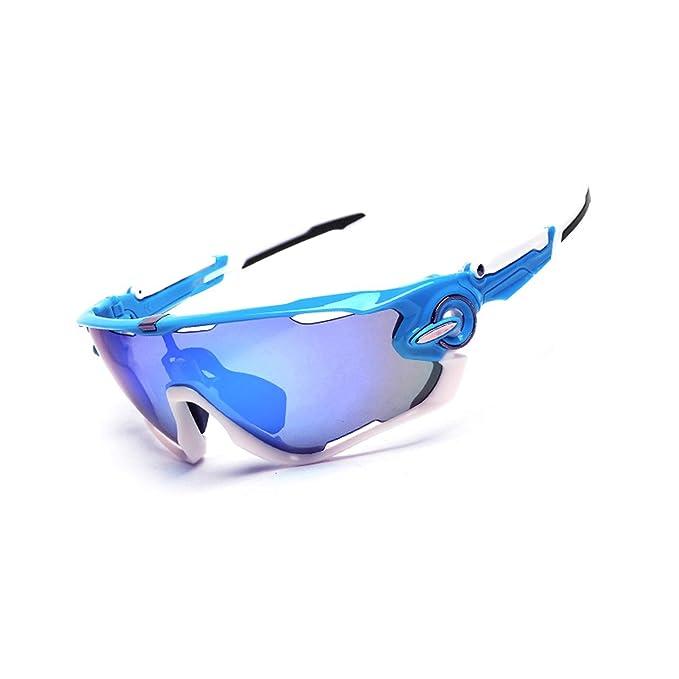 AnazoZ Gafas de Unisex Gafas Protectoras Viento Gafas Polarizadas Gafas de Sol Hombre Gafas Protectoras Deporte Gafas de Montar Gafas Azul Blanco: ...