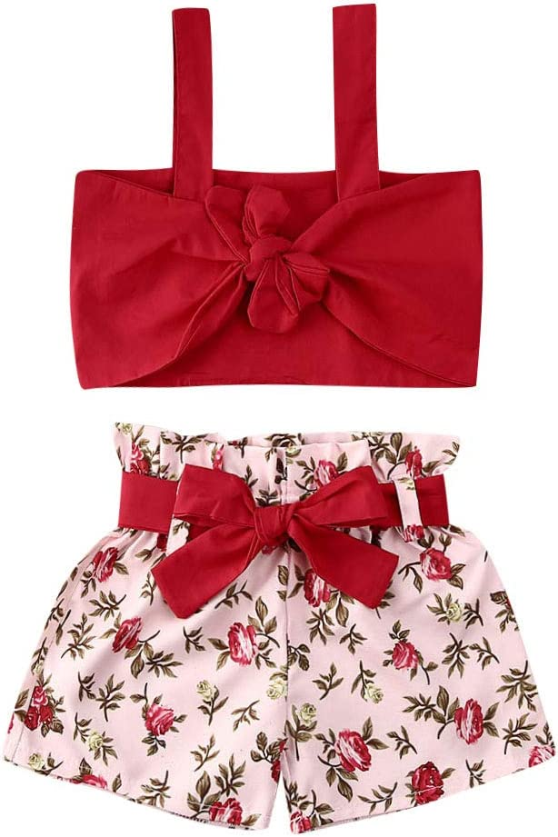 LXXIASHI 2PCS Toddler Baby Girls Summer Outfits Off Shoulder Halter Crop Top Blouse + Floral Shorts Clothing Sets