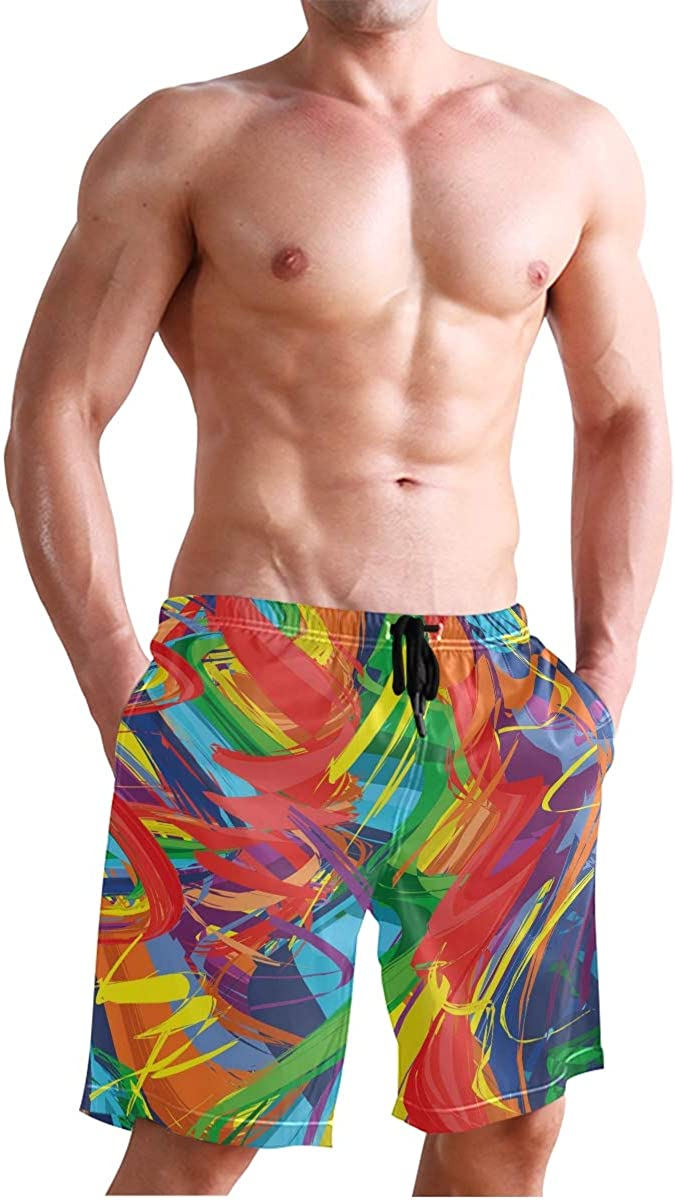 COVASA Mens Summer ShortsAbstract Lively Rainbow Colored Modern Art Hand Drawn