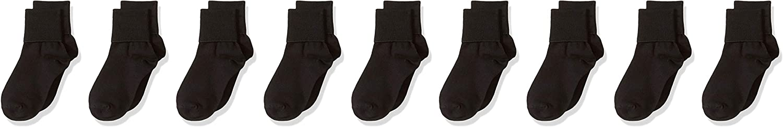 Essentials Girls 9-Pack Cotton Uniform Turn Cuff Sock