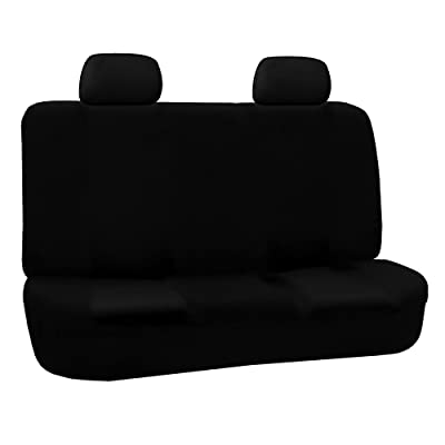 FH Group FB050BLACK012 Black Fabric Bench Car Seat Cover with 2 Headrests: Automotive