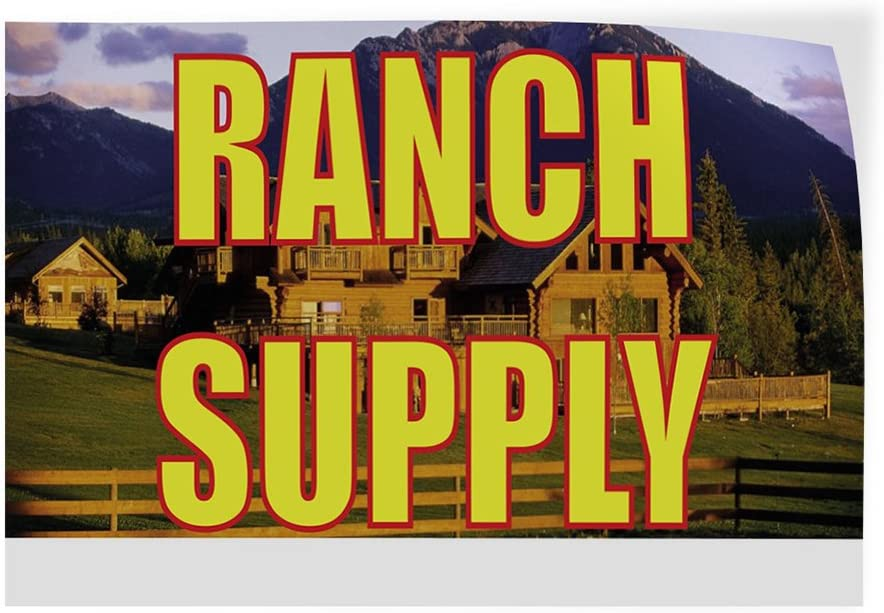 Set of 5 27inx18in Decal Sticker Multiple Sizes Ranch Supply Business Ranch Supply Outdoor Store Sign Yellow