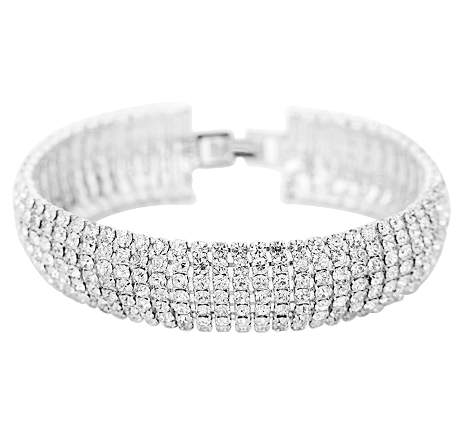 Crystal 6 Row Rhinestone Tennis Bracelet - Gold or Silver Plated w/ Toggle Clasp