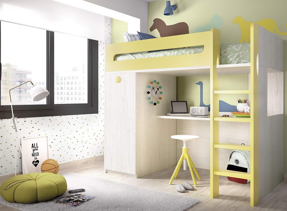 Ambiato Kinderzimmer Hochbett Jump 306 mit Holzleiter und integrierten Schreibtisch und Kleiderschrank