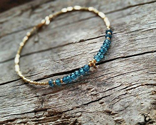 JP_Beads London Blue Topaz and 24K Gold Vermeil Beads Bracelet, Gemstone Bracelet, November Birthstone 3mm