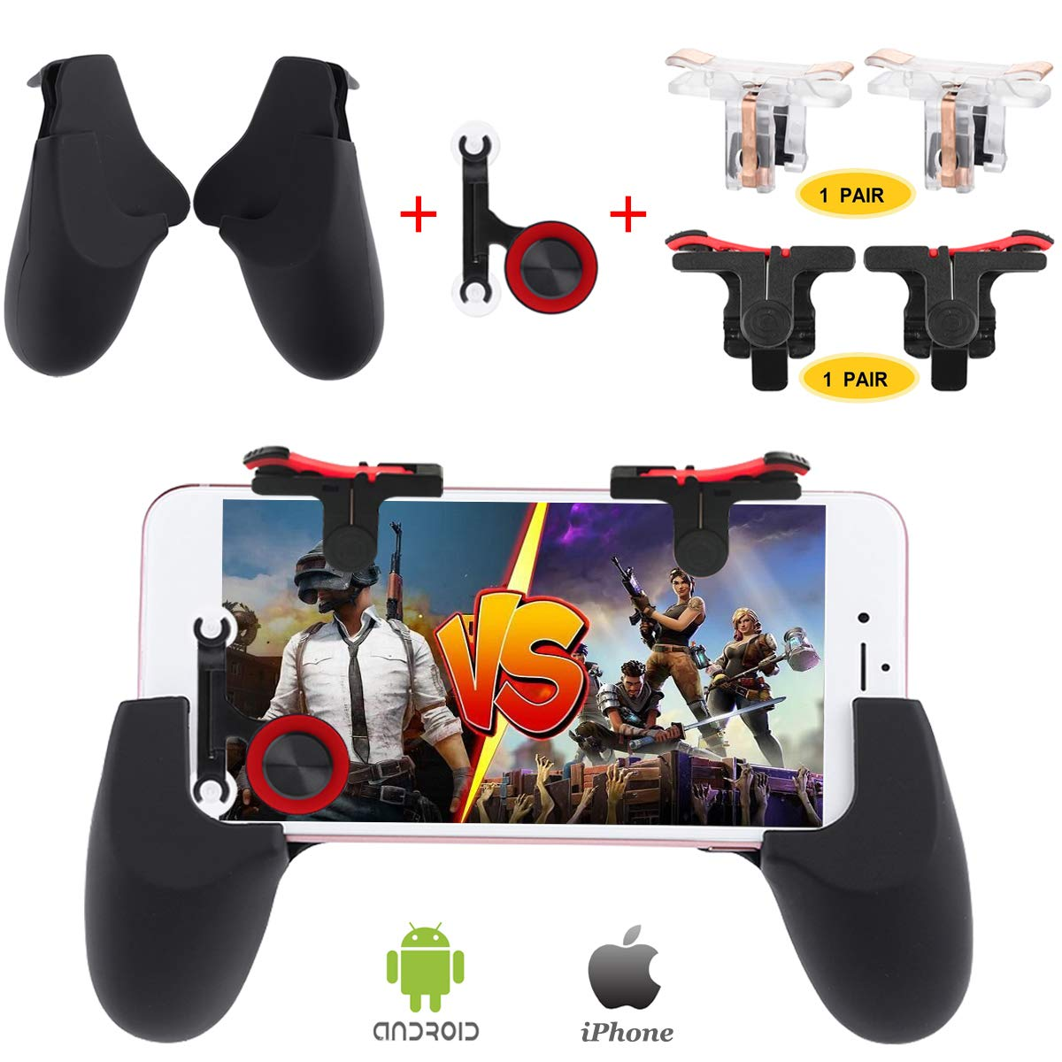 Fortnite PUBG Mobile Controller, Papakoyal PUBG Mobile Trigger Mobile Game Controller Sensitive Shoot and Aim Keys L1R1 Mobile Joystick for PUBG/Fornite/Knives Out... [4 Triggers+2 Gamepads+1 Joystick] Papakoyal direct