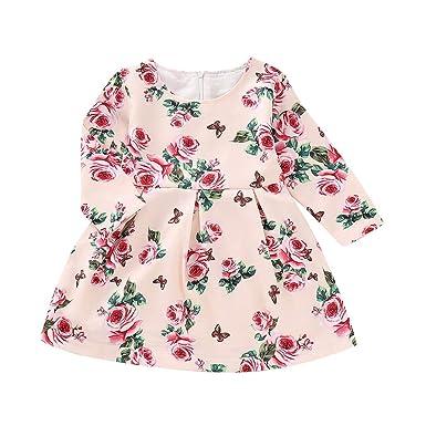 ea3553e225f6 Amazon.com  Toddler Infant Baby Girls Long Sleeve Flora Dresses Kids ...