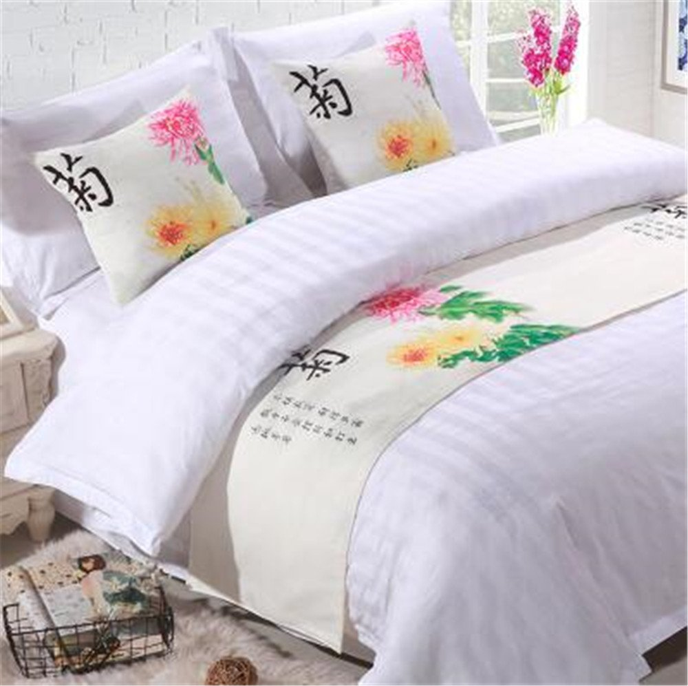 YIH Bed Runner With Cushion Cover 3 Pcs Set Chrysanthemum, Luxury Hotel Wedding Room Bedroom Decorative Bed End Scarf Protector Slipcover Pad For Pets, 82 Inches By 19 Inches