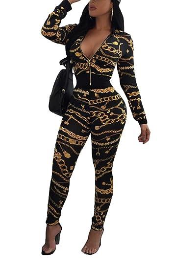 12e31768f7 Aro Lora Women's 2 Piece Outfits Floral Print Jacket Long Bodycon Pant Set  Sweatsuits