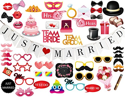 Just Pc (Oululu 52 PCS Wedding Photo Booth Props with Letters Banner for Party Decoration Supplies (52 PCS Props & Just Married Banner))