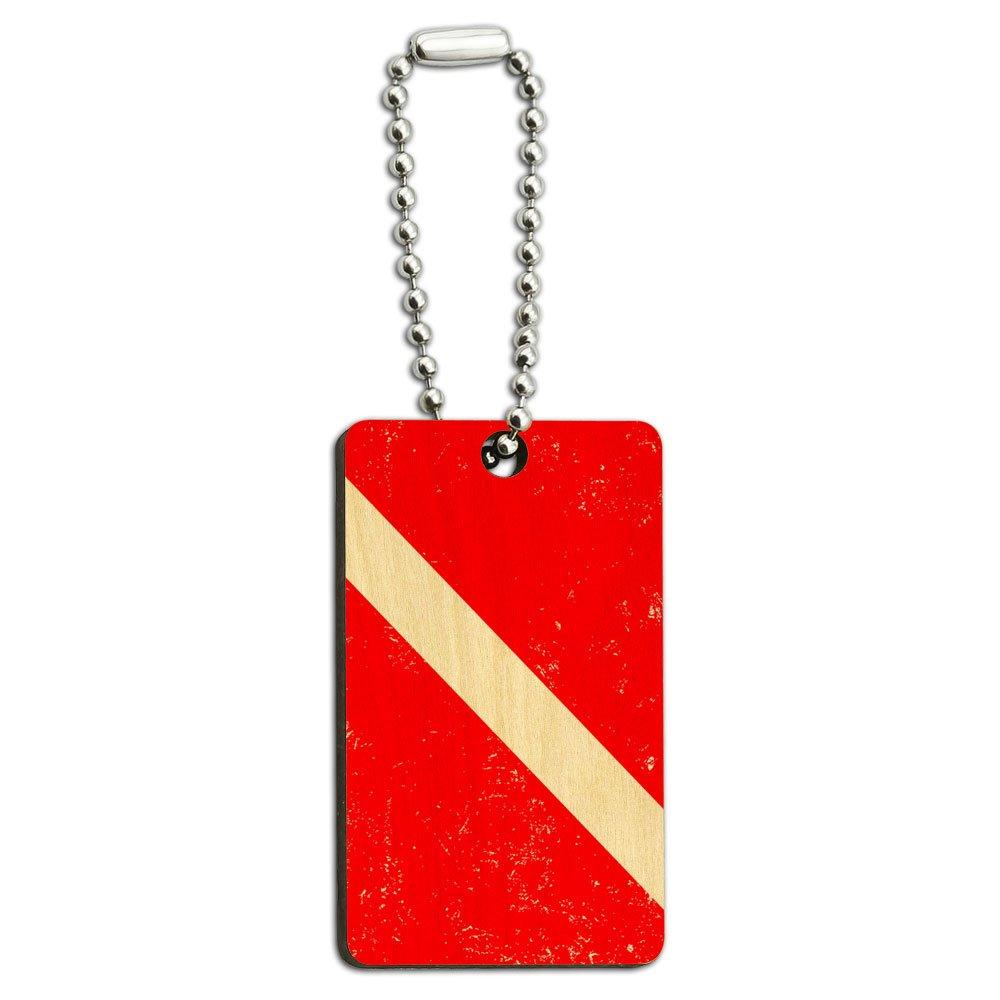 Diving Flag Distressed - Scuba Diver Dive Wood Wooden Rectangle Key Chain