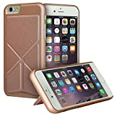 Akiko Stand iPhone 6 6s Case [Origami Series] Ultimate Protection Scratch Proof Soft Interior Leather HardCase with [Foldable 2-Way Stand Feature] for iPhone 6 6s - Retail Packaging - Rose Gold