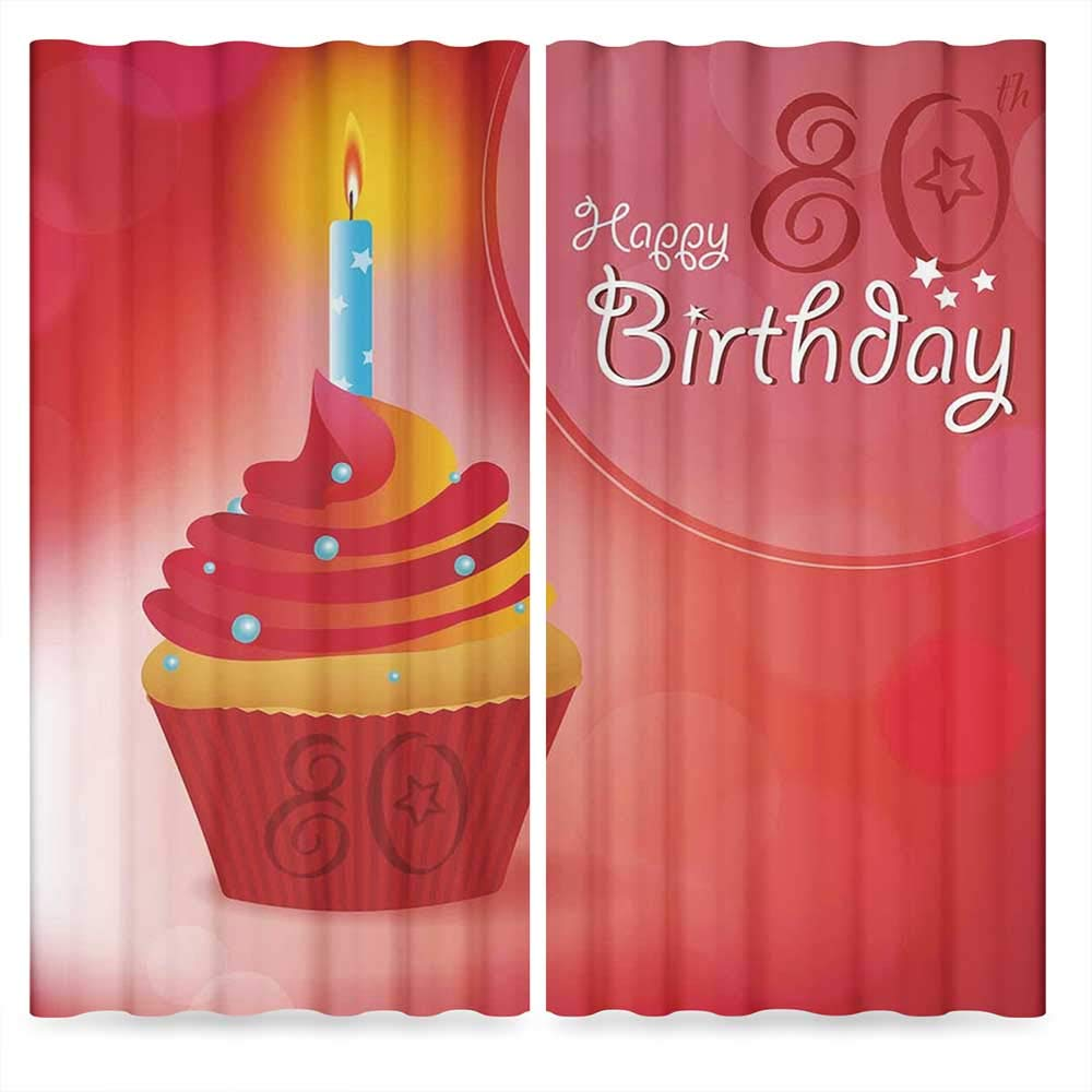 80th Birthday Decorations Bedroom Curtains Blackout,Birthday Party Cupcake with Candle and Sunbeams Image,for Living Room, 2 Panel Set, 28W X 39L Inches