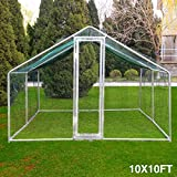 10x10ft Large Metal Chicken Coop Walk-In Chicken Coops and Runs Backyard Hen house Farm Ranch Run Walk in Poultry Cage