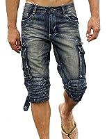 Idopy Men`s Cargo Denim Biker Jeans Shorts With Zippers