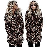 XIANIWTA Women's Winter Long Sleeve Coat Faux Fur Overcoat Plus Size Fluffy Top Jacket Leopard (M)