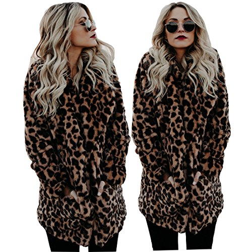 XIANIWTA Women's Winter Long Sleeve Coat Faux Fur Overcoat Plus Size Fluffy Top Jacket Leopard (2XL) - Leopard Faux Fur Coat