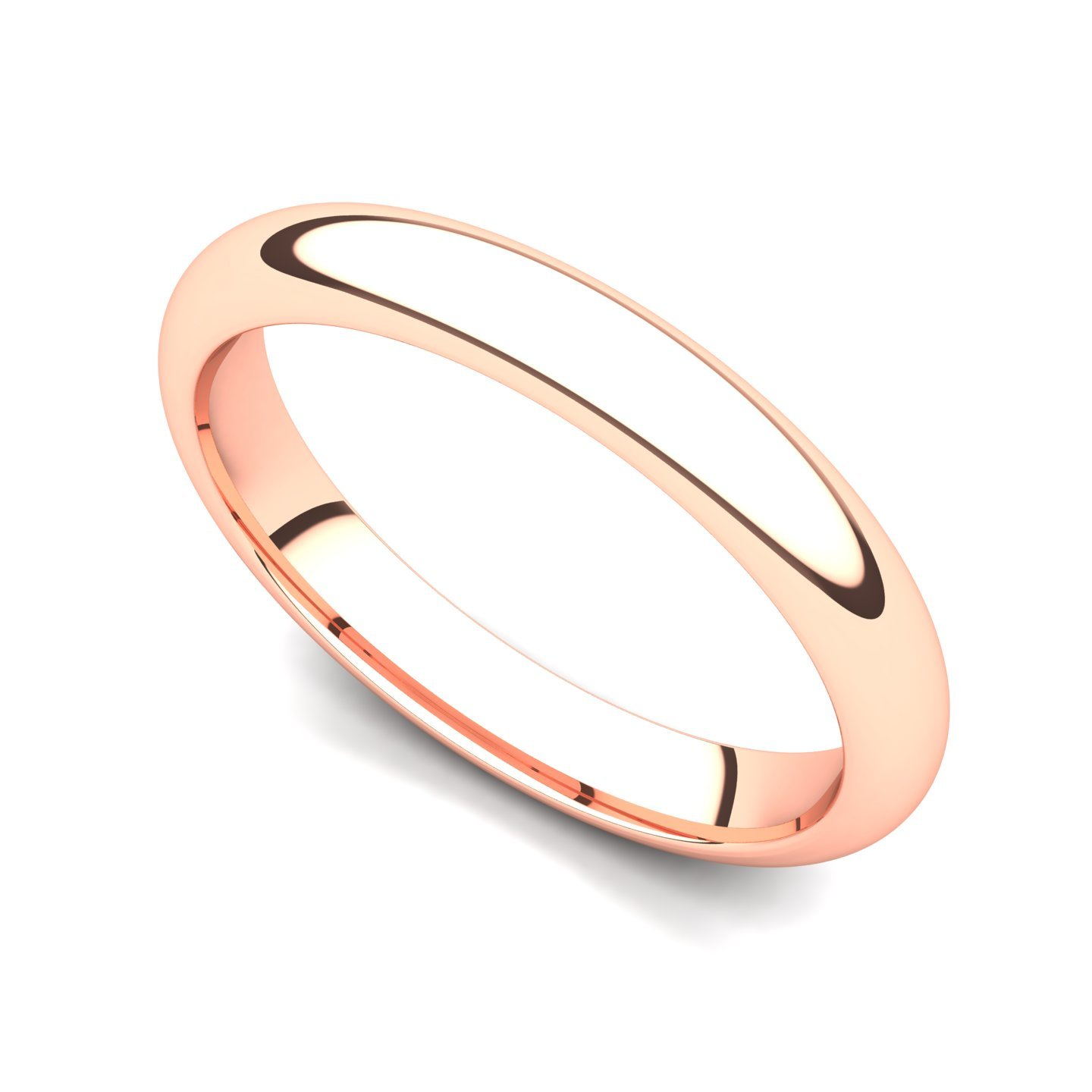14k Rose Gold 3mm Domed Plain Wedding Band Ring, 7.5 by Juno Jewelry