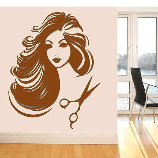 guijiumai Hair Salon Vinyl Wall Sticker Beautiful Girl Removeable ...