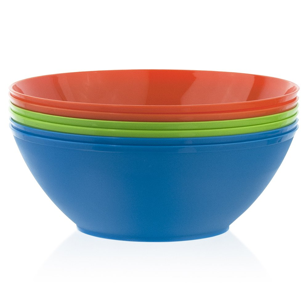 Fresco 10-inch Plastic Mixing and Serving Bowls | set of 6 in 3 Assorted Colors