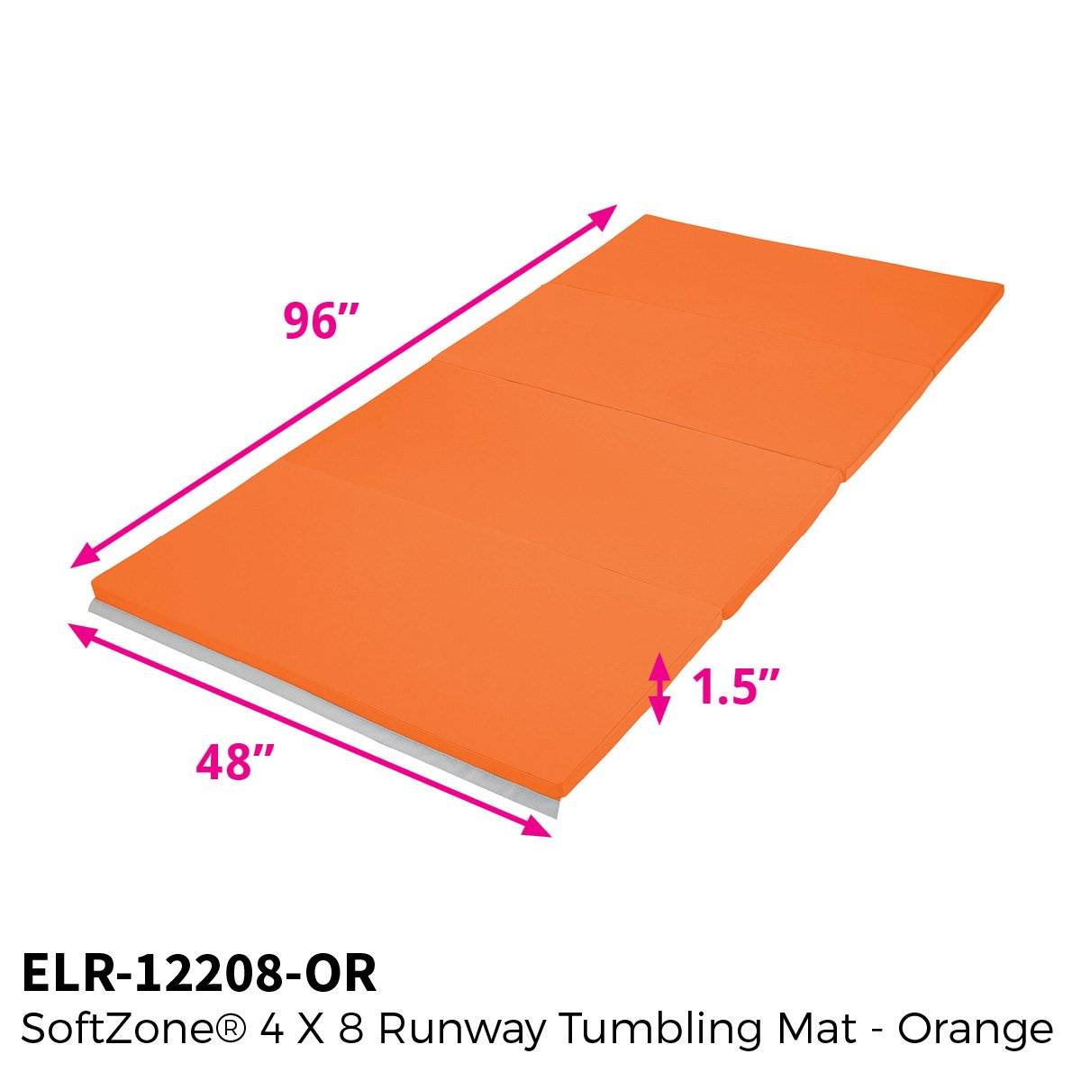 ECR4Kids SoftZone Folding Kids Tumbling Exercise Mat Earthtone 4 x 4 Feet 1.5 Inches Thick
