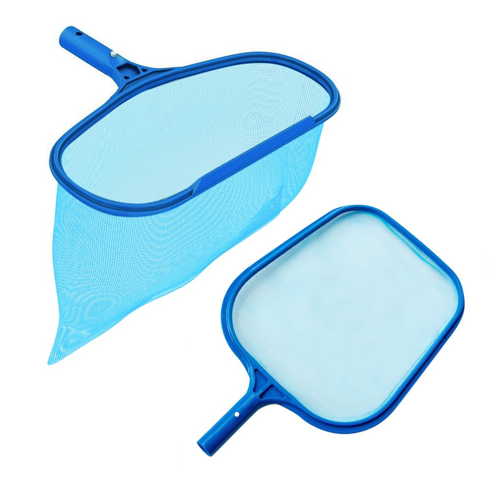 Rongbo Heavy Duty Deep-Bag Pool Rake & Swimming Leaf Skimmer Net with Medium Fine Mesh,Fits Most Standard Pole for Cleaning Swimming Pools,Hot Tubs,Spas and Fountains (flat rake + deep-bag rake)