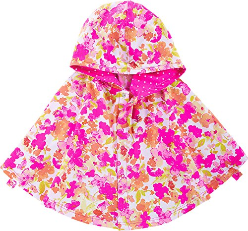 Coolibar UPF 50+ Baby Girls' Hooded Beach Cover-Up Poncho - Sun Protective (2T-3T- Pink Blossom) Cover Ups Children Sun Clothing