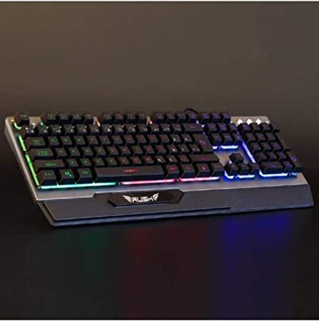 Rush RK501 Teclado mecánico para Juegos con Potente retroiluminación arcoíris de Doble inyección LED Letra iluminada de Metal para Gamer