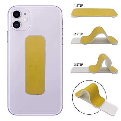 Finger Strap Phone Holder, AOLIY Universal Handy Cell Phone Grip Band Holder for iPhone Samsung Huawei Android iPad Mini (Yellow)
