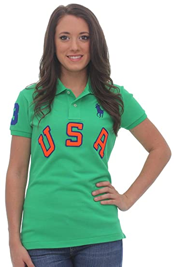 8e638848cc Polo Ralph Lauren USA Pique Polo Shirt Short Sleeve Green Size S at Amazon Women s  Clothing store