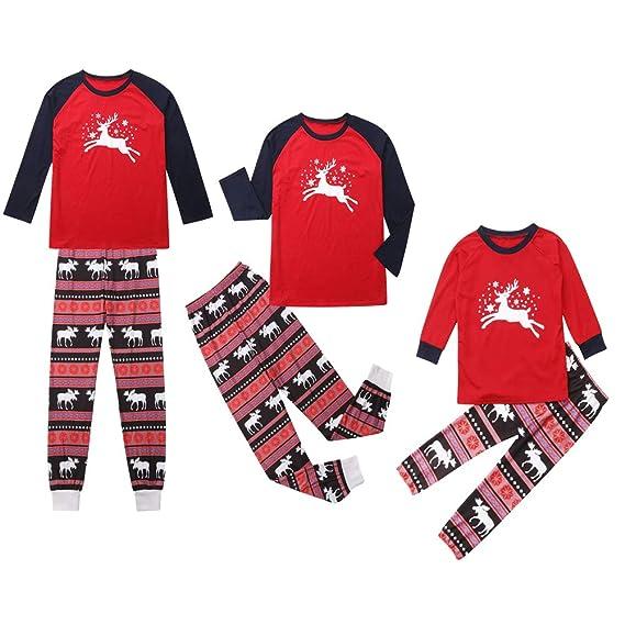 Xutingbo Christmas Long Sleeve Deer Snowflake Stripe Parent-Child T-Shirt Family  Matching Pajamas Set Xmas Pjs Sleepwear Nightwear Homewear Outfit  ... 181e3a2fe