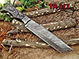 14″ Long hand forged Damascus steel tracker knife full tang tanto blade, 2 tone Dollar wood scale filet knife, cow hide leather sheath For Sale