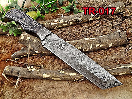 "14"" Long hand forged Damascus steel tracker knife full tang tanto blade, 2 tone Dollar wood scale filet knife, cow hide leather sheath"